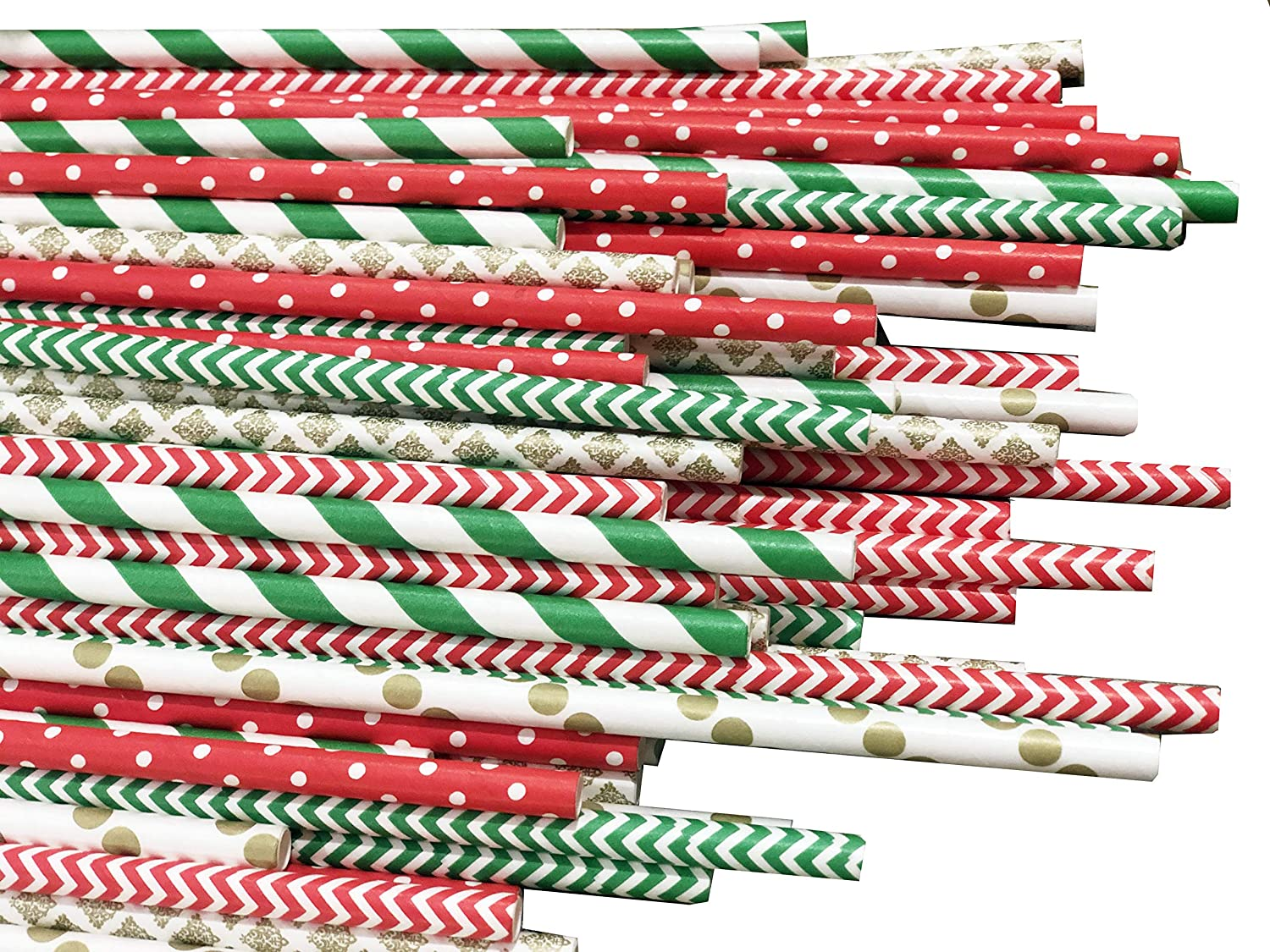 Pack of 150 Christmas Paper Straws in Red, Green and Gold. Holiday Straws, Vintage Party Supplies, Santa Red & Emerald Elf Green Straws