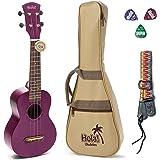 Hola! Music HM-121PP+ Deluxe Mahogany Soprano Ukulele Bundle with Aquila Strings, Padded Gig Bag, Strap and Picks - Purple