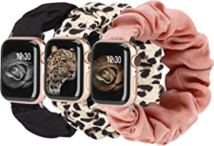 TOYOUTHS 3 Packs Compatible with Apple Watch Band Scrunchies 38mm Cloth Soft Pattern Printed Fabric Wristband Bracelet Women IWatch Elastic Scrunchy Bands 40mm Series SE 6 5 4 3 2 1