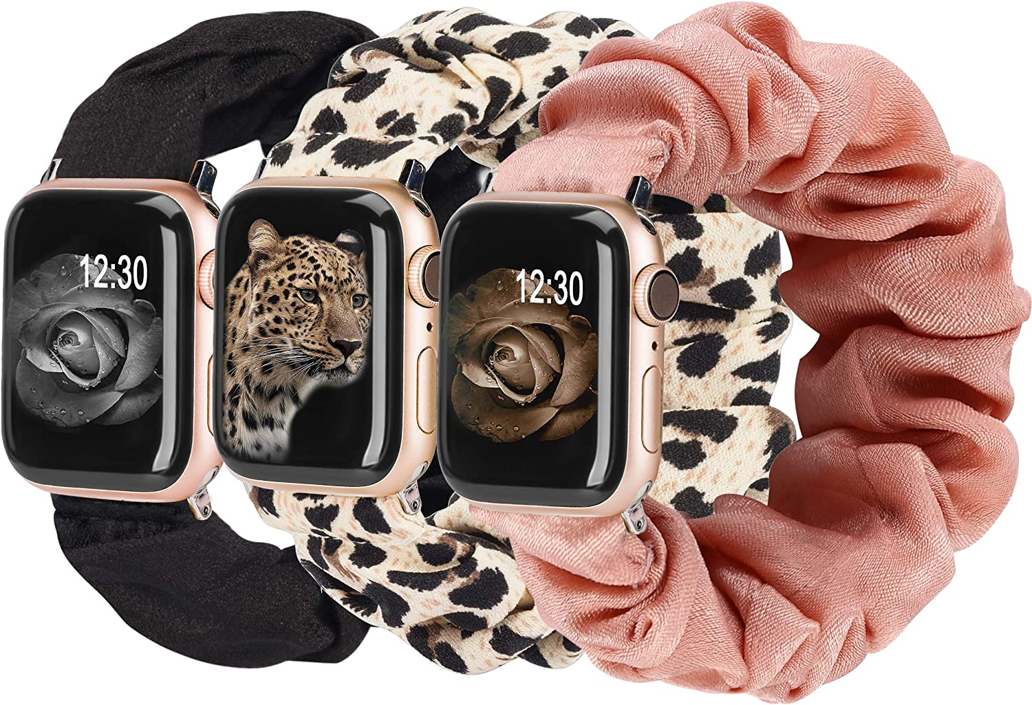 TOYOUTHS 3 Packs Compatible with Apple Watch Band Scrunchies 42mm Cloth Soft Pattern Printed Fabric Bracelet Women IWatch Elastic Scrunchy Bands 44mm Series SE 6 5 4 3 2 1