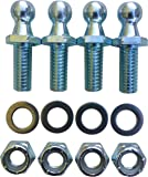 """(4 Pack) 10mm Ball Studs With Hardware - 5/16-18 Thread x 3/4"""" Long Shank - Gas Lift Support Strut Fitting"""