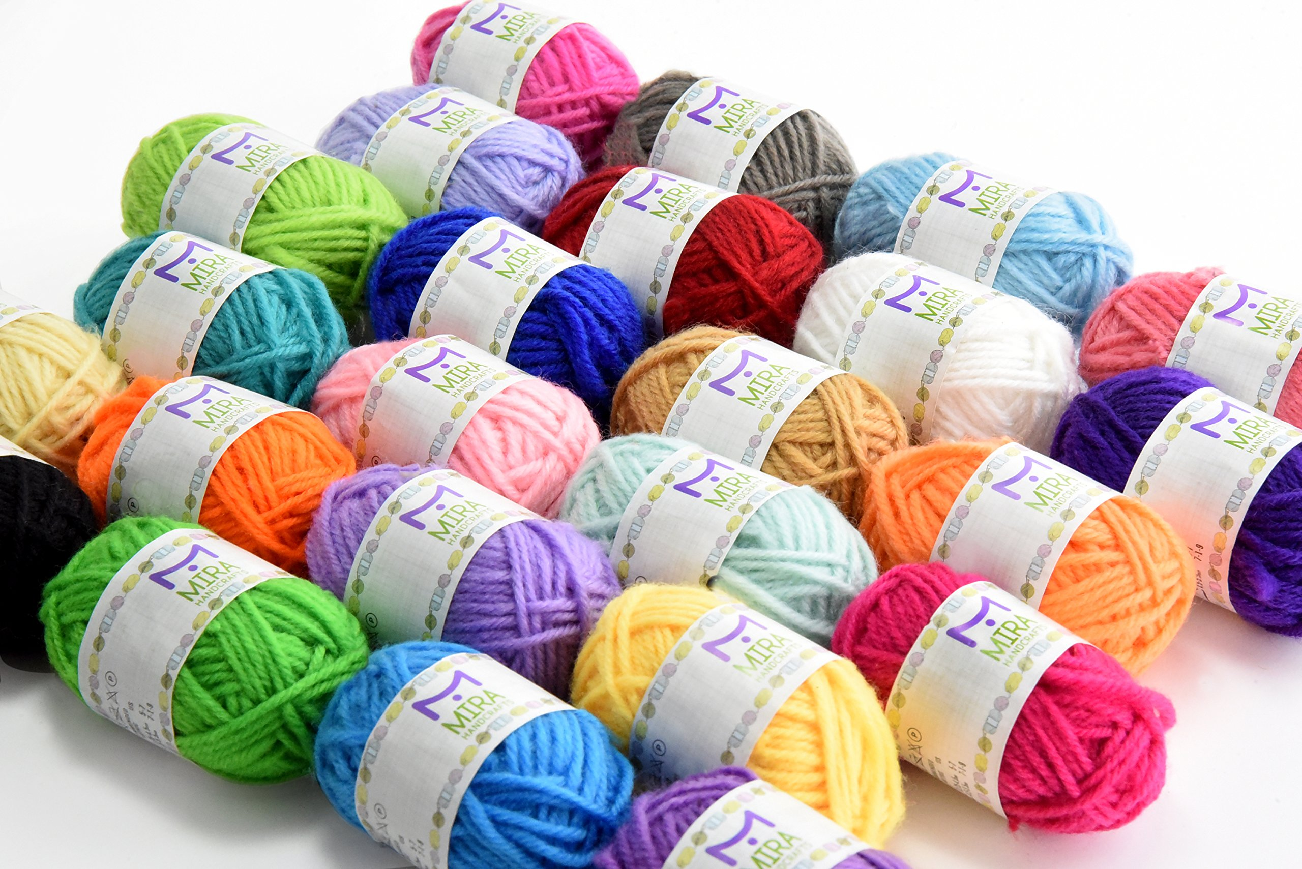 Mira Handcrafts 24 Acrylic Yarn Bonbons | Total of 525 Yards Craft Yarn for Knitting and Crochet | Includes 2 Crochet Hooks, 2 Weaving Needles, 7 E-Books | DK Yarn | Perfect Beginner Kit by Mira HandCrafts (Image #2)