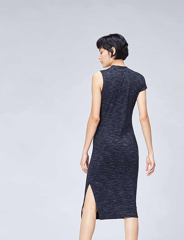 Amazon Brand - find. Women's Jersey Dress Blue (Navy)