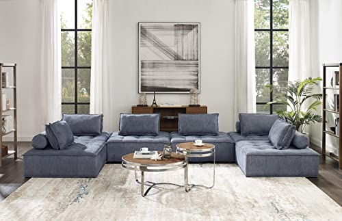 Volans Sectional Sofa, Mid Century Modern Fabric Upholstered Square Modular Sectional Sofa Couch with Two Removable Non-Slip Pillows, Living Room Sofa Set, Blue 6 PCS