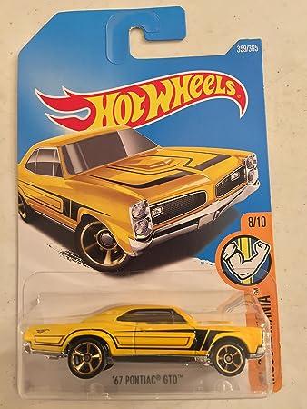 Amazon.com: 2017 Hot Wheels 67 Pontiac GTO (HTF Yellow w/Black Stripes): Toys & Games