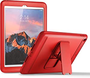 YOUMAKER New iPad 9.7 Case 2018/2017, Heavy Duty Kickstand with Built-in Screen Protector Full-body Shockproof Protective Case Cover for Apple iPad 9.7 inch 2017/2018 5th/6th Gen (Red/Red)