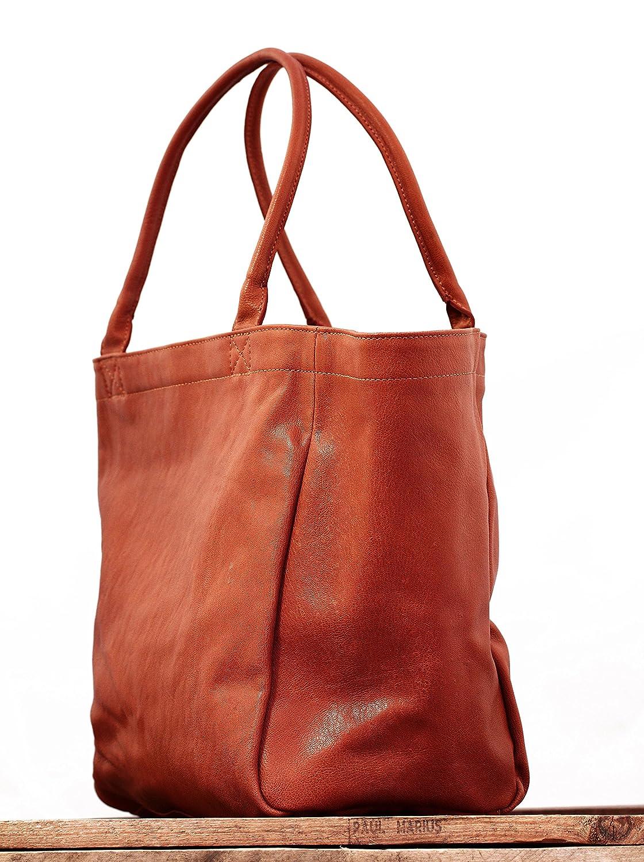 MON PARTENAIRE M Naturel sac /à/ main en cuir cabas fourre-tout style vintage PAUL MARIUS M Marron