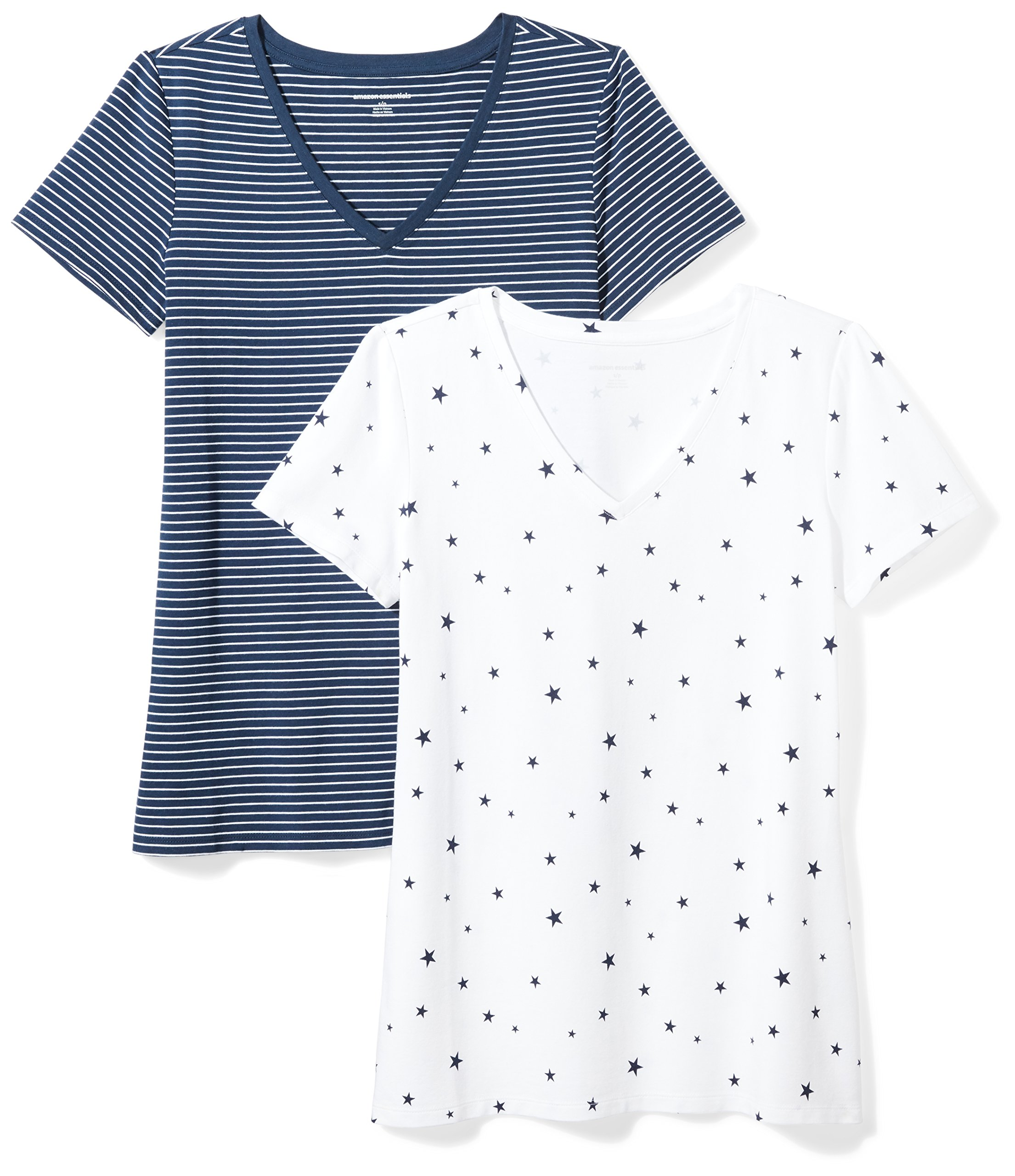 Amazon Essentials Women's 2-Pack Short-Sleeve V-Neck Patterned T-Shirt, Navy Stripe/Star Print, Large