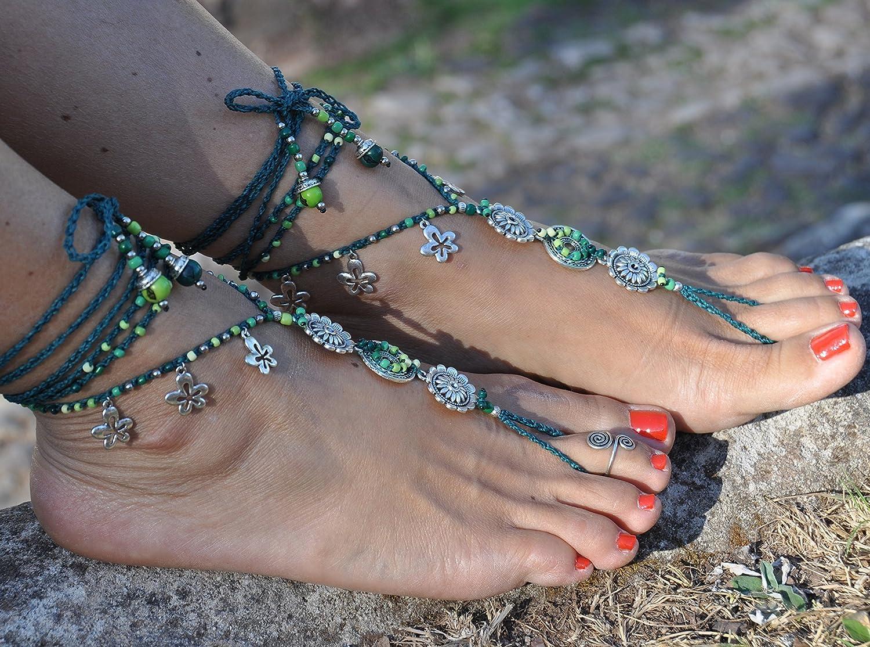 Pano Para Tanto Heart Chakra Mandala Barefoot Sandals Boho Foot Jewelry