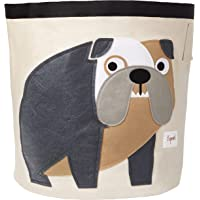 3 Sprouts Canvas Storage Bin - Laundry and Toy Basket for Baby and Kids, Bulldog