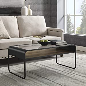 Walker Edison Curved Metal Frame Wood and Glass Rectangle Coffee Table Living Room Ottoman Storage Shelf, 42 Inch, Dark Concrete/Reclaimed Barnwood