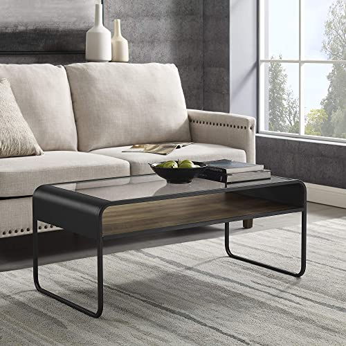 Walker Edison Curved Metal Frame Wood and Glass Rectangle Coffee Table Living Room Ottoman Storage Shelf