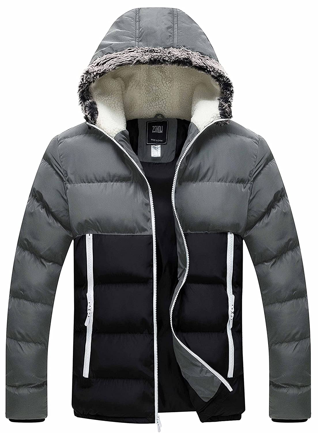 bdd2d71bd43 Amazon.com  ZSHOW Men s Winter Thickened Puffer Jacket Hooded Cotton  Quilted Coat Outerwear  Clothing