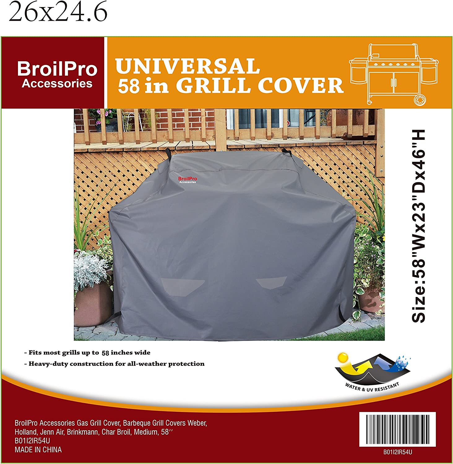 BroilPro Accessories Gas Grill Cover, Barbeque Grill Covers Weber, Holland, Jenn Air, Brinkman, Char Broil, Medium : Garden & Outdoor
