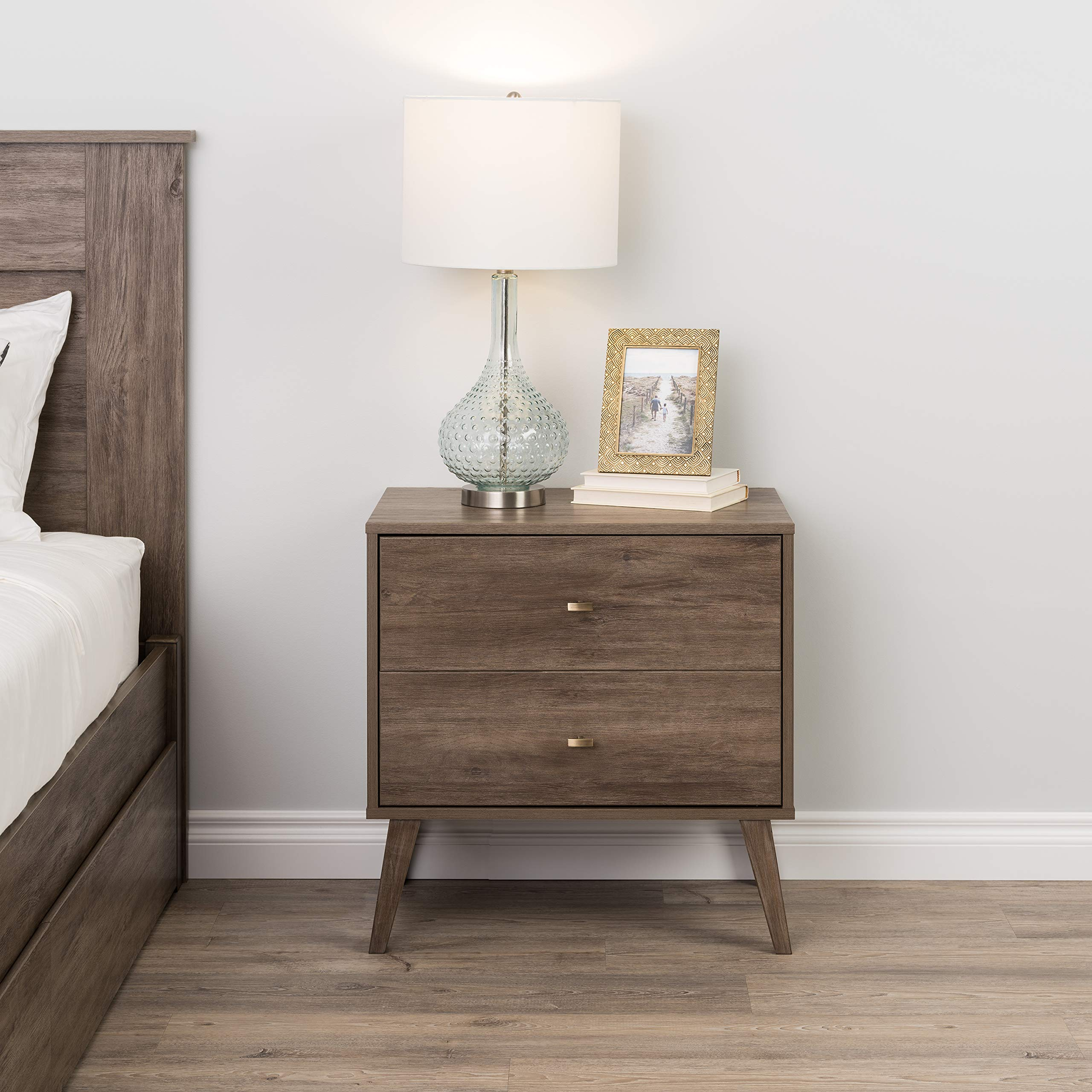 Prepac Milo Mid Century Modern 2 Drawer Nightstand in Drifted Gray by Prepac