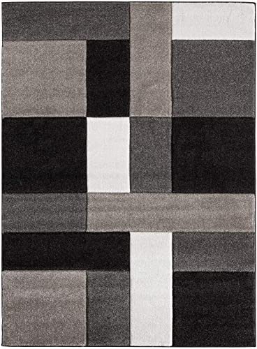 Ibiza Collection Geometric Blocks Abstract Area Rug, 3 3 x 4 7 , 2811-Brown Beige