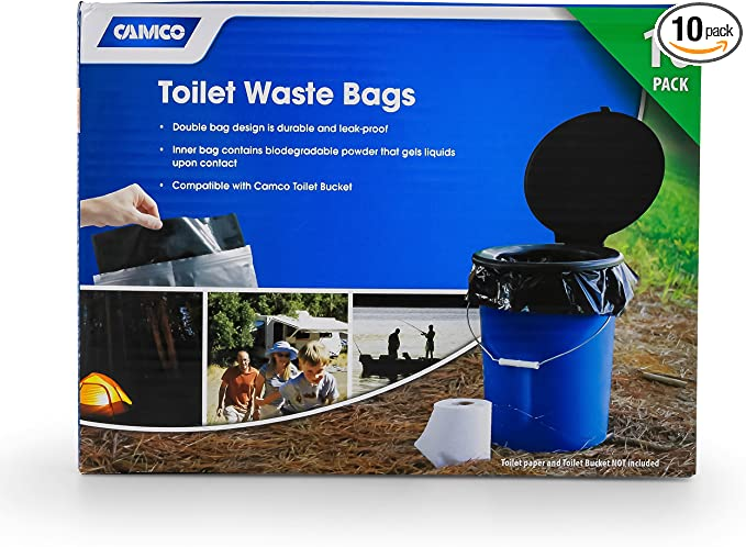Amazon Com Camco Toilet Waste Bags Durable Double Bag Design Is Leak Proof Inner Bag Gels Any Liquid Great For Camping Hiking And Hunting And More 10 Pack 41548 Black Automotive