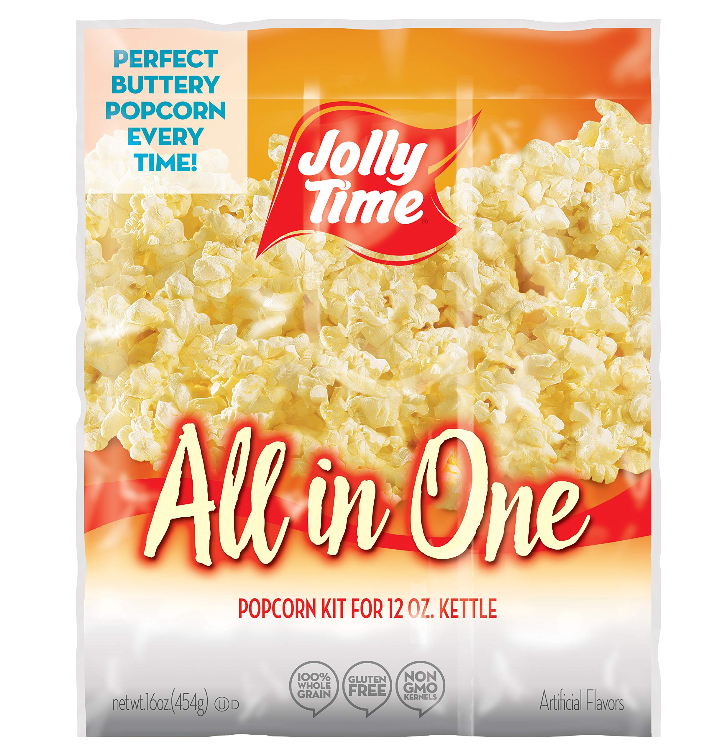 JOLLY TIME All in One Kit for 12 oz. Popcorn Machine | Portion Packet with Kernels, Oil and Salt Commercial, Movie Theater or Air Popper (Net Wt. 16 oz. Each, Pack of 24) by Jolly Time (Image #1)