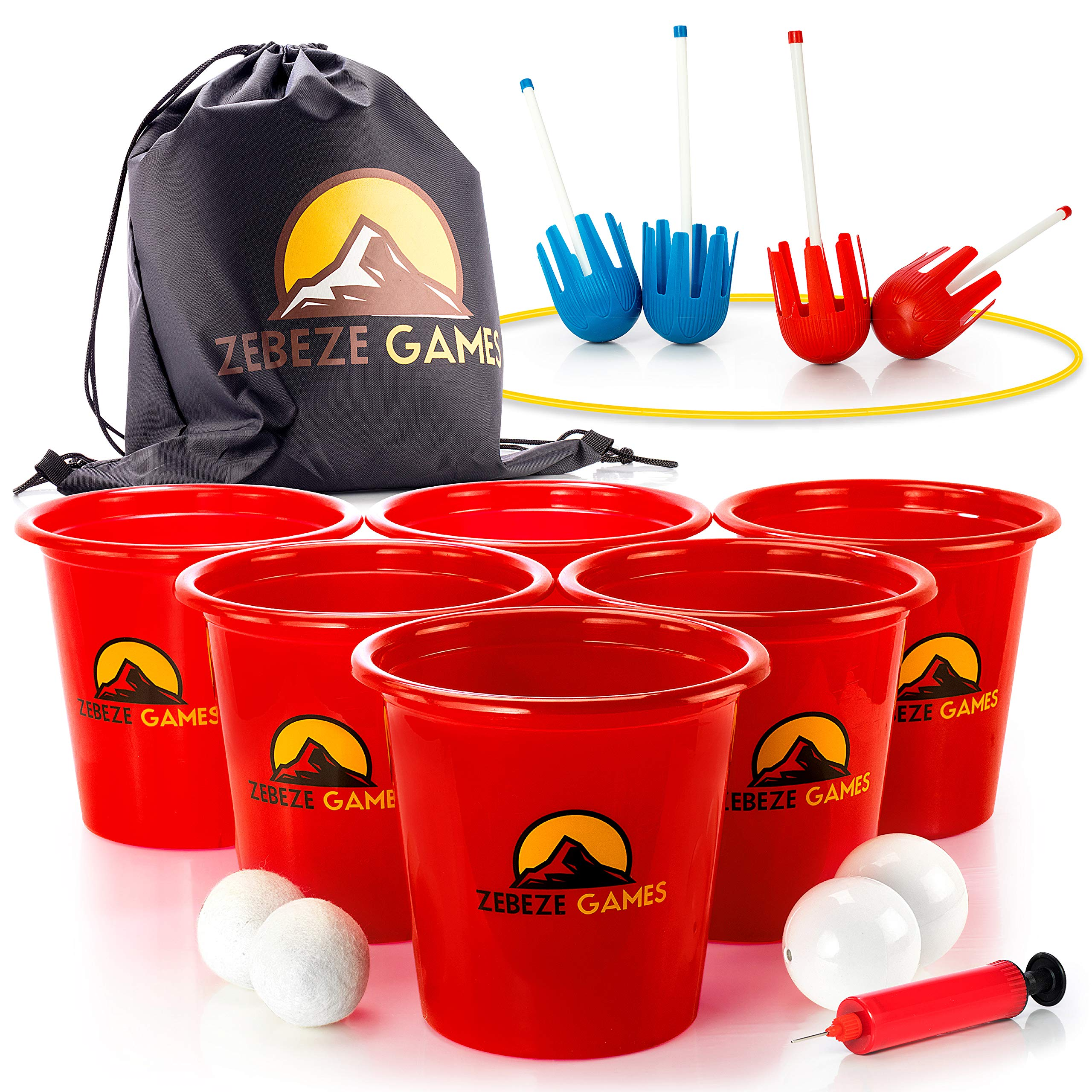 Yard Pong Outdoor Games - Giant Pong Buckets & Balls Set - Giant Beach Ball- Premium Beer Golf for Family & Friends - Giant Buckets + Pump - Jumbo Size Yard Game & Bonus by ZEBEZE GAMES
