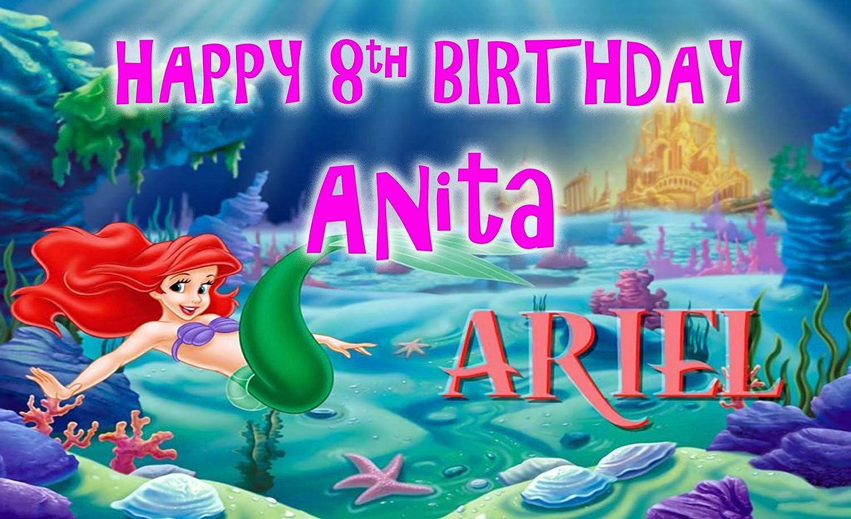 Pancarta para cumpleaños de niños, personalizable sirenita ...