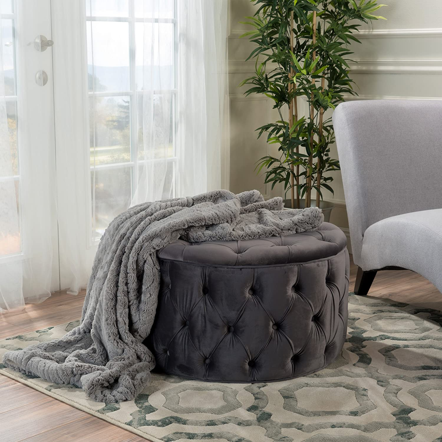 Great Deal Furniture Tufted Velvet Round Ottoman