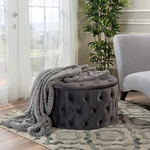 Great Deal Furniture Provence Dark Grey Tufted New Velvet Round Ottoman