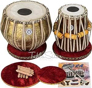 Maharaja Musicals Tabla Set, Professional, 3.5 Kg Brass Bayan - Ganesha and Rose Carving, Sheesham Dayan Tuned To C#, Padded Bag, Book, Hammer, Cushions, Cover, Tabla Hand Drums Indian (PDI-BHD)