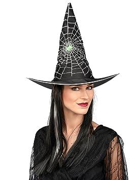 Sombrero con peluca bruja negra y blanca mujer Halloween: Amazon.es: Juguetes y juegos