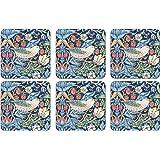 Pimpernel Strawberry Thief Blue Set of 6 Coasters 2010268717