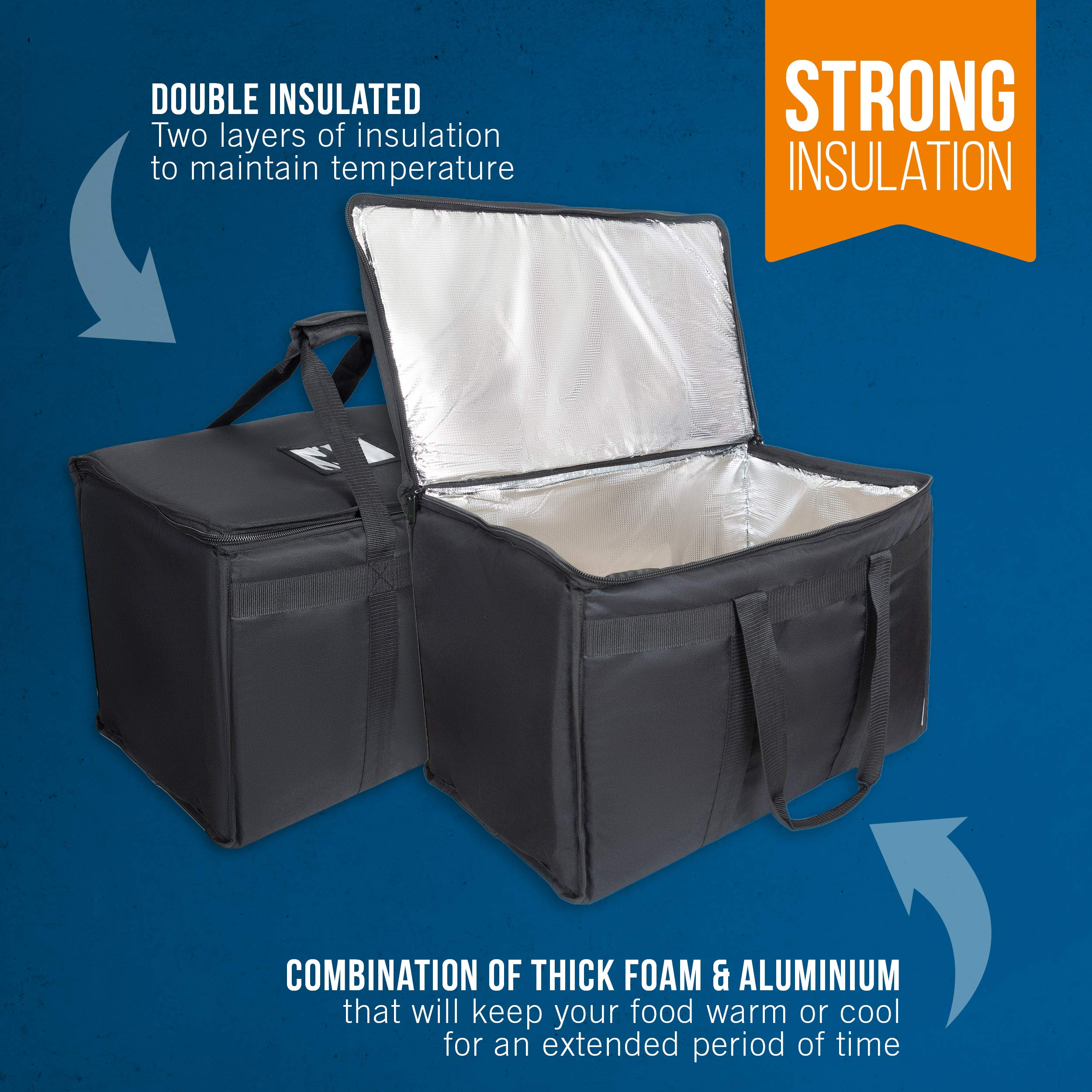 """Food Delivery Bag. Heavy Duty Bag with Strong Insulation. Reinforced Stitching for Heavy Loads. Perfect for Food Delivery & Commercial Transportation. Fit Chafing Trays. Large Capacity (23""""x14""""x15""""). by Trust the Fresh (Image #4)"""