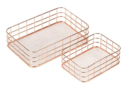 Metal Wire Baskets Storage | Amazon Com Juvale Metal Wire Baskets 2 Set Nesting Copper Mesh