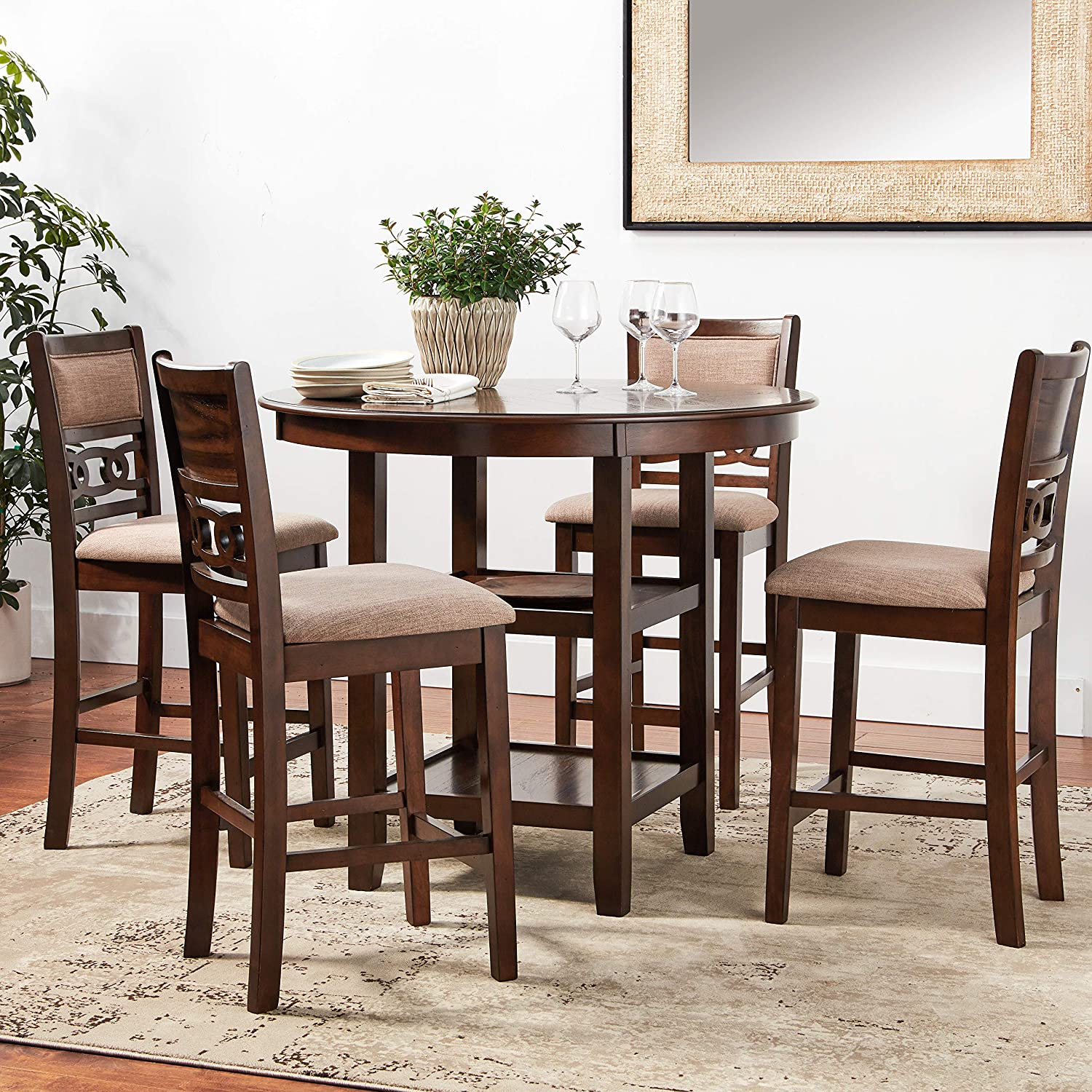 New Classic Furniture Gia Counter Dining Set Cherry