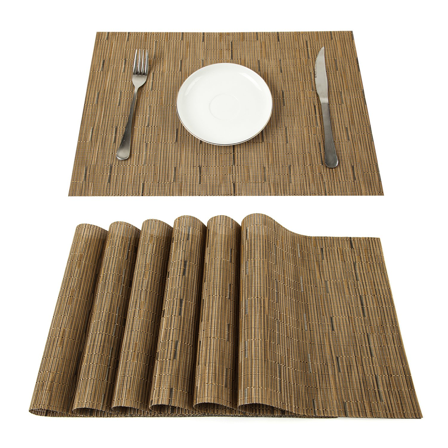 PAUWER Placemats Set of 6 Crossweave Woven Vinyl Placemat for Kitchen Table Heat Resistant Non-slip Kitchen Table Mats Easy to Clean (6, khaki)