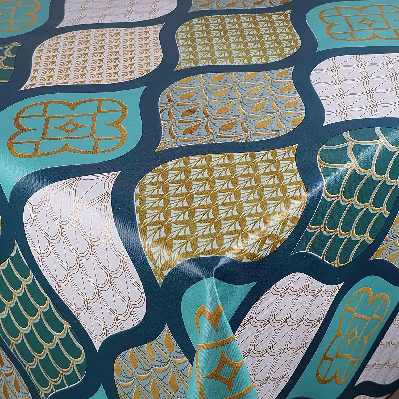 DecoHomeTextil Wachstuch Wachstuchtischdecke Gartentischdecke Gr/ö/ße w/ählbar Soft Touch Vintage T/ürkis 80 x 100 cm Eckig abwaschbare Tischdecke