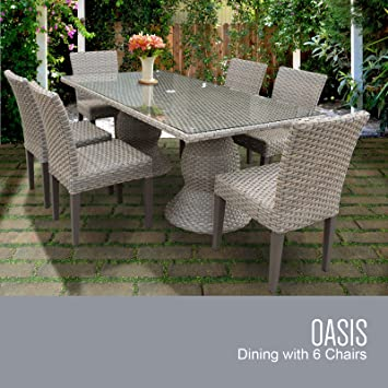 TK Classics Oasis Rectangular Outdoor Patio Dining Table With 6 Armless  Chairs, Grey Stone