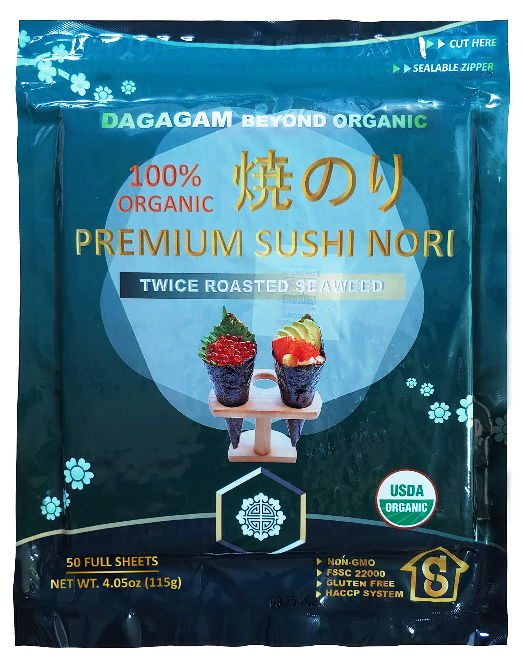 Organic Sushi Nori, Twice Roasted Seaweed, Premium Grade (50 Full Sheets) : USDA, Vegan, Non-GMO, Gluten-free, Dietary Fiber |DAGAGAM