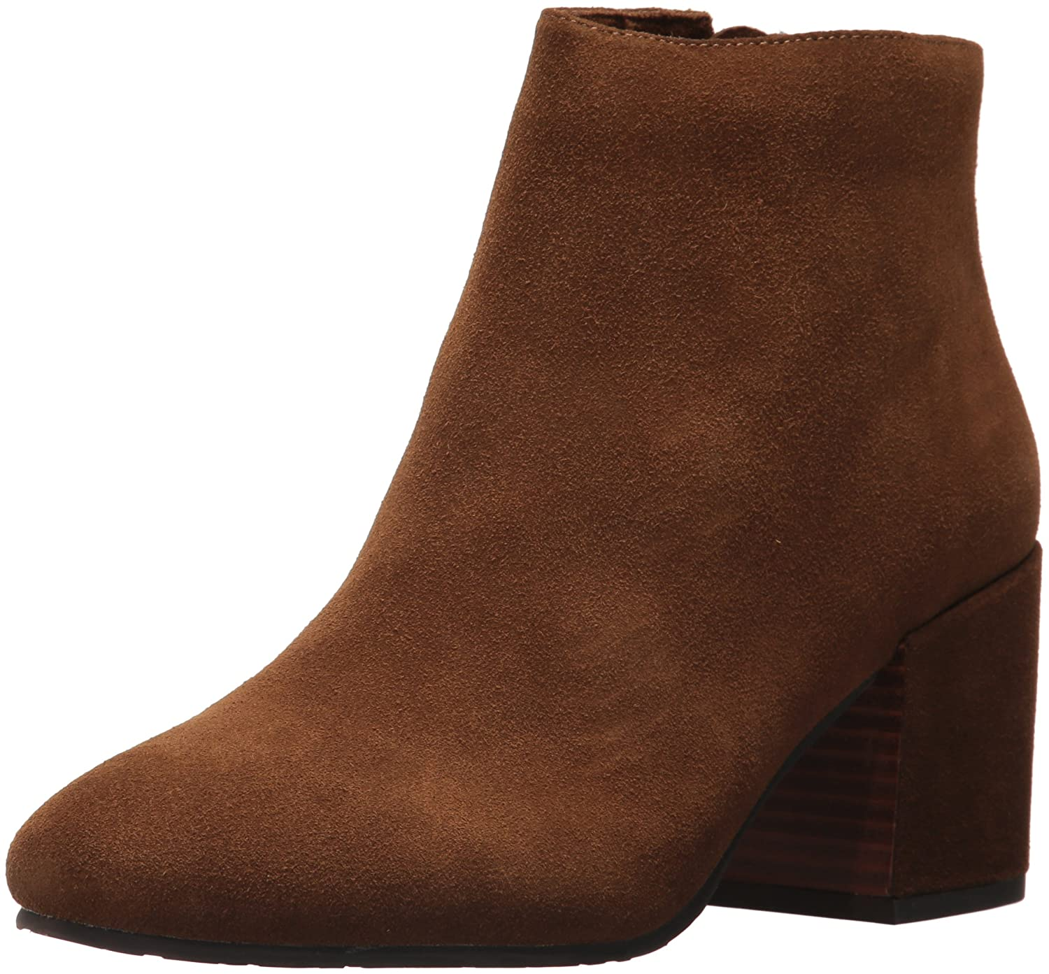 Gentle Souls by Kenneth Cole Women's Blaise Ankle Bootie with Side Zip, Covered Block Heel Suede Ankle Bootie B07259HC5D 6 B(M) US|Walnut