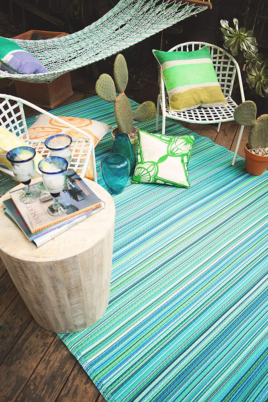 Fab Hab - Cancun - Türkis & Moosgrün - Teppich  Matte für den Innen- und Außenbereich (150 cm x 240 cm)