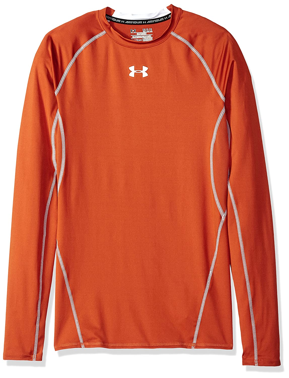Under Armour Men& 039;s HeatGear Long Sleeve Compression Shirt, Texas Orange/Weiß, Medium