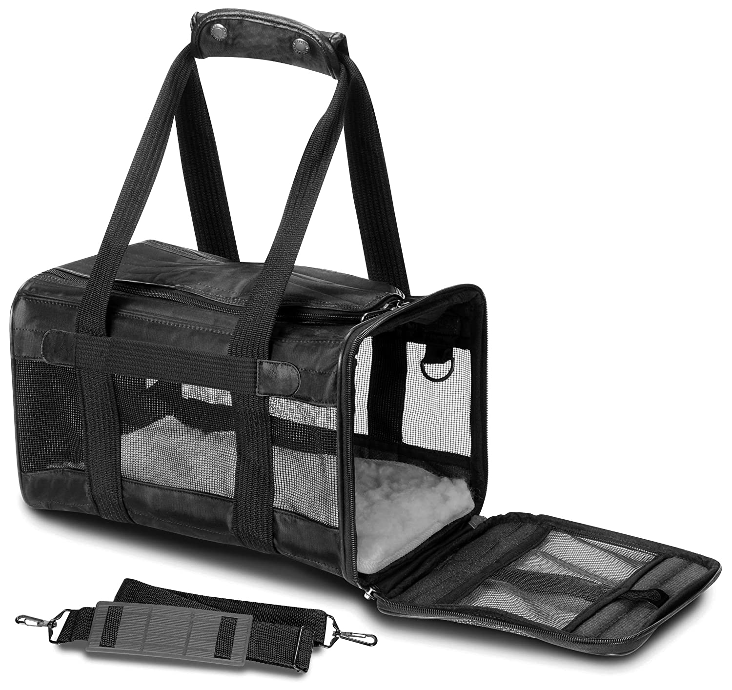 Black Small Black Small Sherpa 55531 Original Deluxe Pet Carrier Small with Black Trim