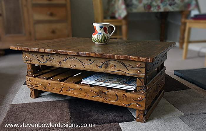 Country Cottage Style Rustic Reclaimed Wood Coffee Table With