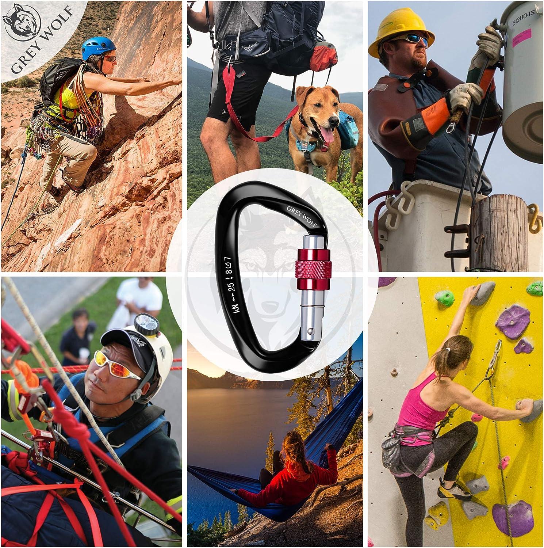 Dog Leash /& Camping Hammock USA Certified 25 KN Auto Locking Climbing Harness GREY WOLF Heavy Duty Climbing Carabiner Tree Climbing Gear D Ring Locking Carabiner for Rock Climbing Holds