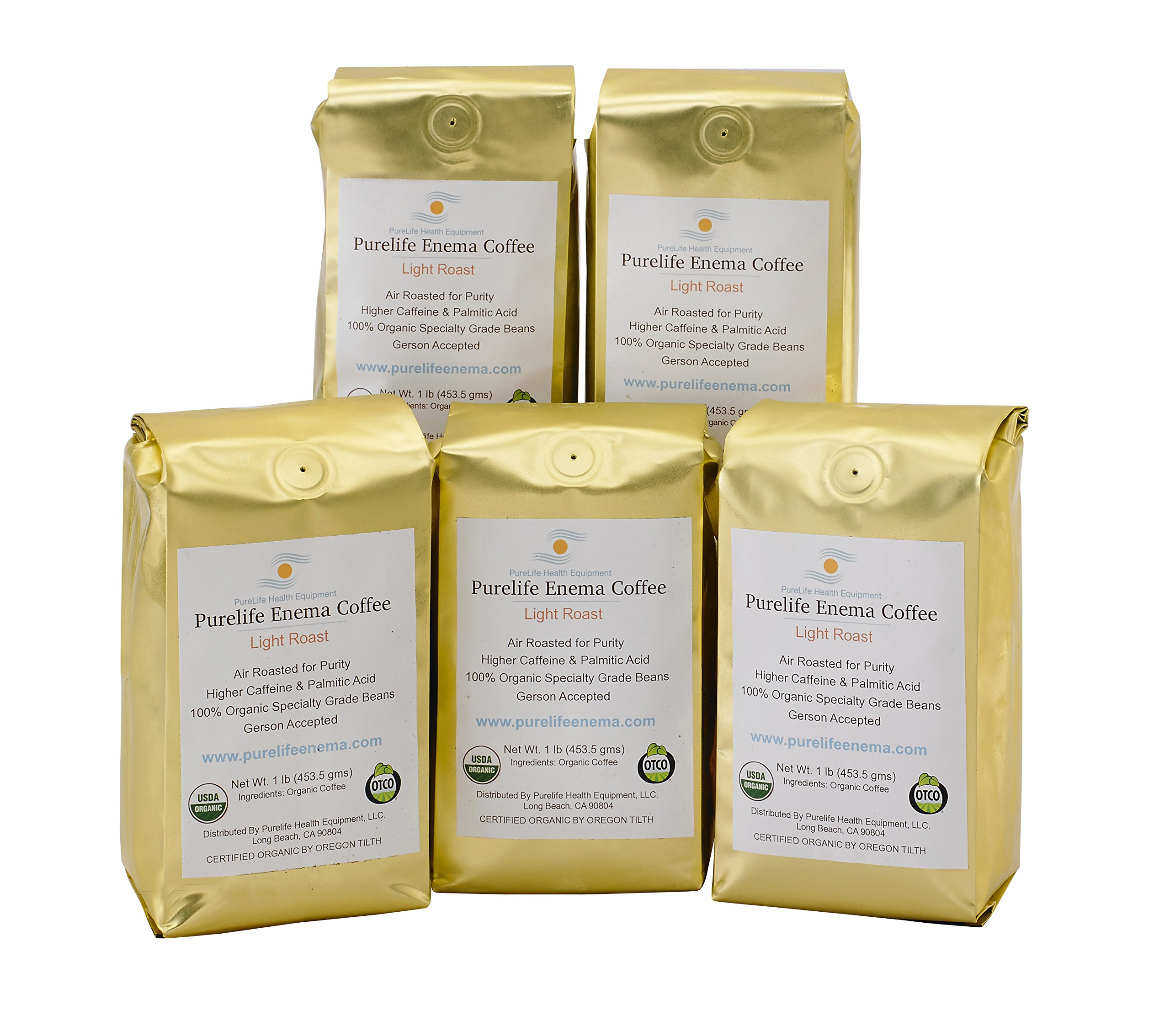Purelife Enema Coffee - 5 Lbs Organic Air Roast''Light'' - Ground - Gerson Specific- Buy in Bulk and Save! Ships Fresh and Direct From Purelife