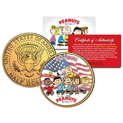 PEANUTS * Americana * CHARLIE BROWN Snoopy JFK Half Dollar Coin 24K Gold Plated: Everything Else
