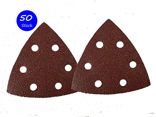 Lot de 50 feuilles abrasives 93 x 93 x 93 Grain 120 pour Ponceuse Delta 6 trous