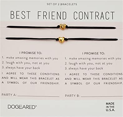 Amazon dogeared womens best friend contract set of 2 heart dogeared womens best friend contract set of 2 heart bracelets gold one size thecheapjerseys Choice Image