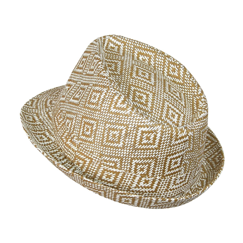 9bc1e3a9a1f Boho Geometric Design Straw Fedora- Woven Diamond Pattern Trilby Hat Camel  at Amazon Women s Clothing store