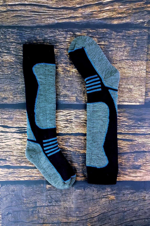 4 Pairs Mens Ladies Kids Extra Warm Long Knee High Colourful Winter Wool Blend Ski Socks