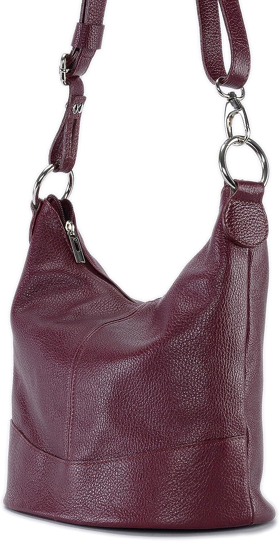 OH MY BAG Sac bandoulière Cuir porté épaule bandoulière et de travers Femmes en véritable cuir fabriqué en Italie - modèle BEAUBOURG Rouge Foncé