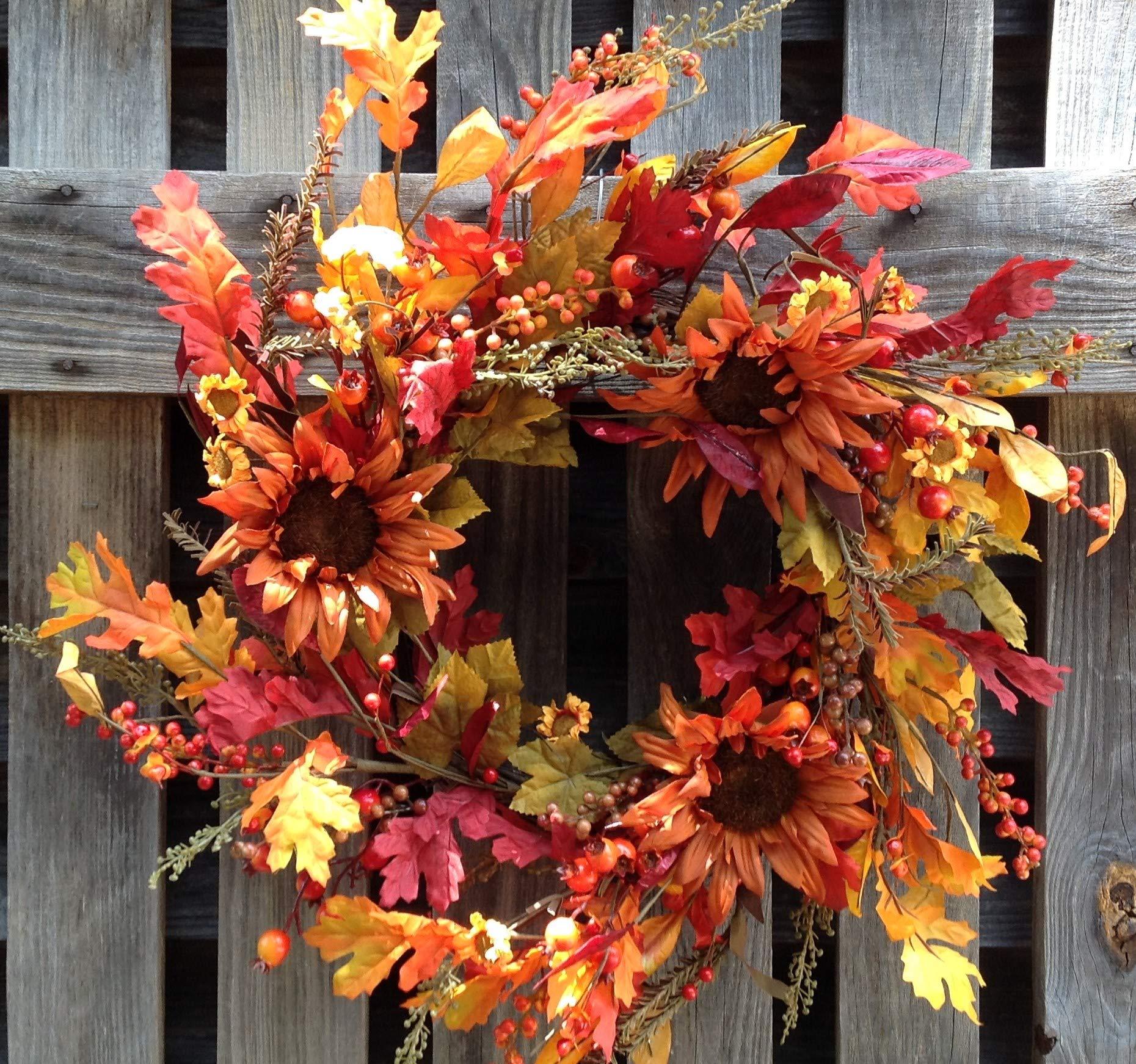 "silk flower arrangements flora decor autumn splendor leaf wreath - 24"""
